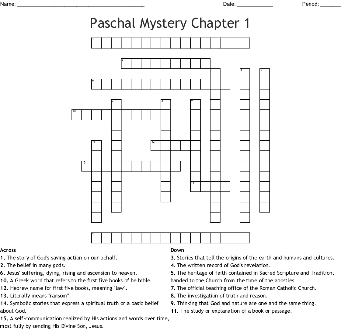 Paschal Mystery Chapter 1 Word Search