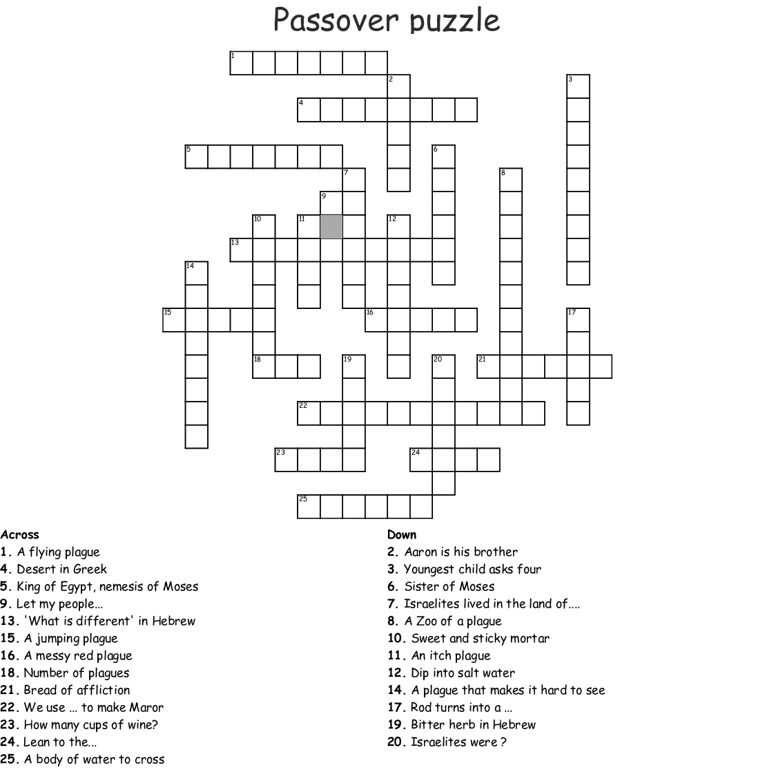 The Ten Plagues Word Search