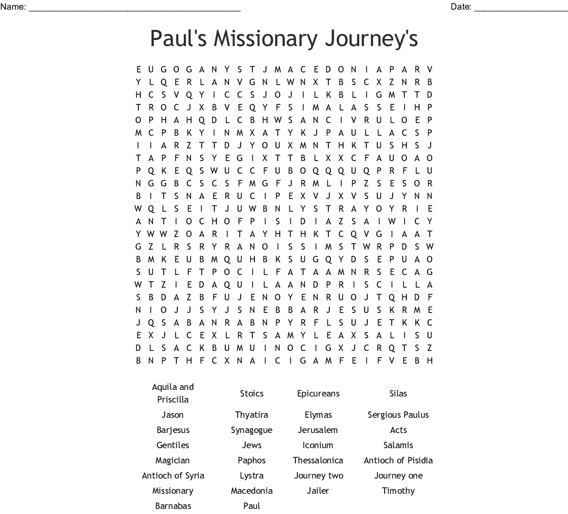 Missionary Question Worksheet