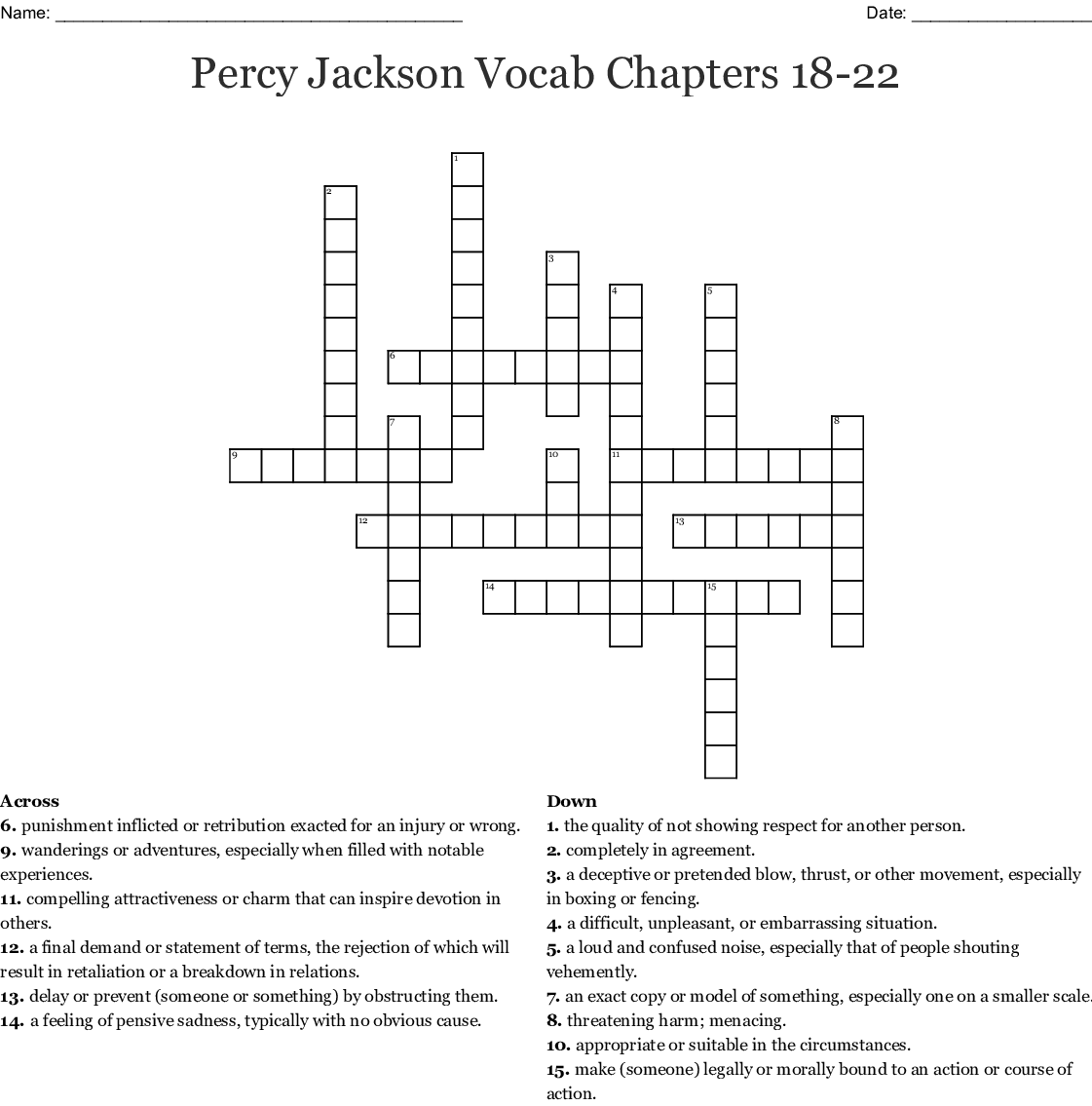 Percy Jackson Vocab Chapters 18 22 Word Scramble