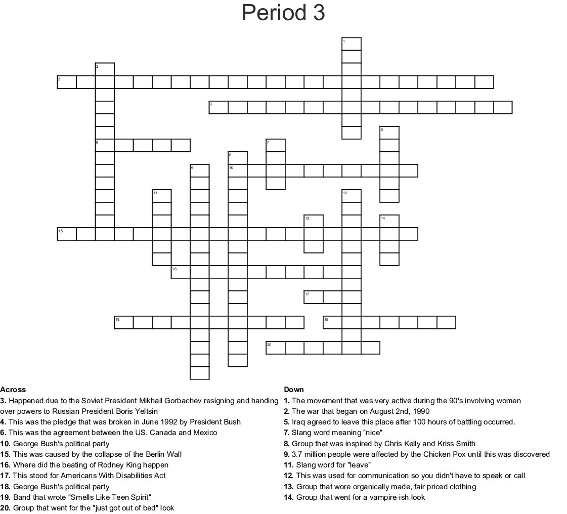 Period 3 Crossword