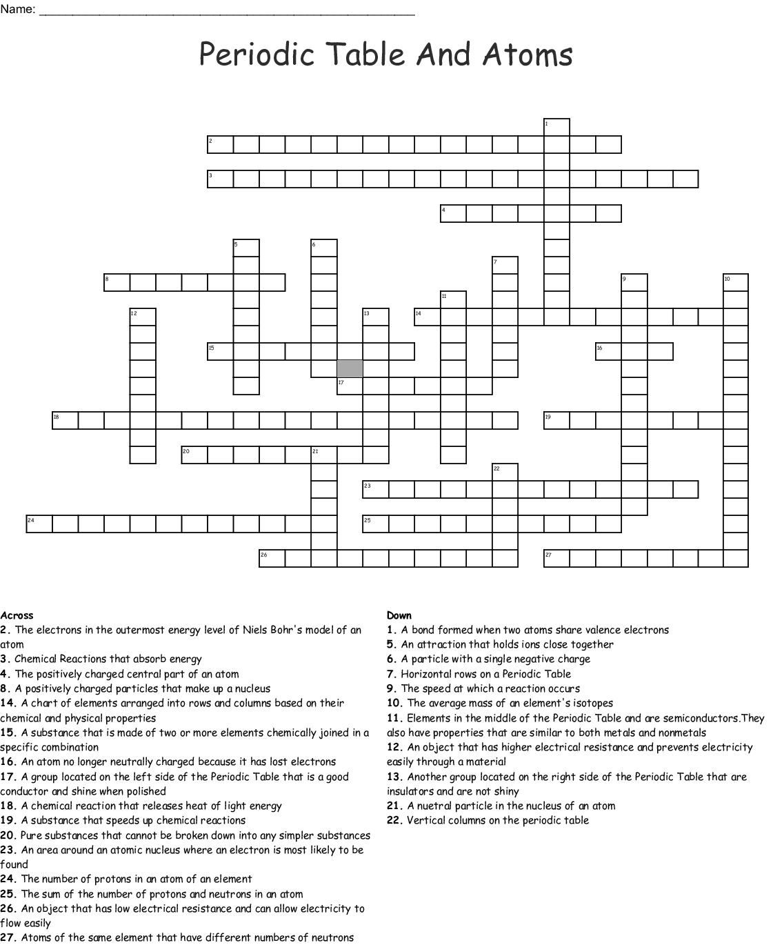 Unit 2 Atoms And The Periodic Table Worksheet Answers