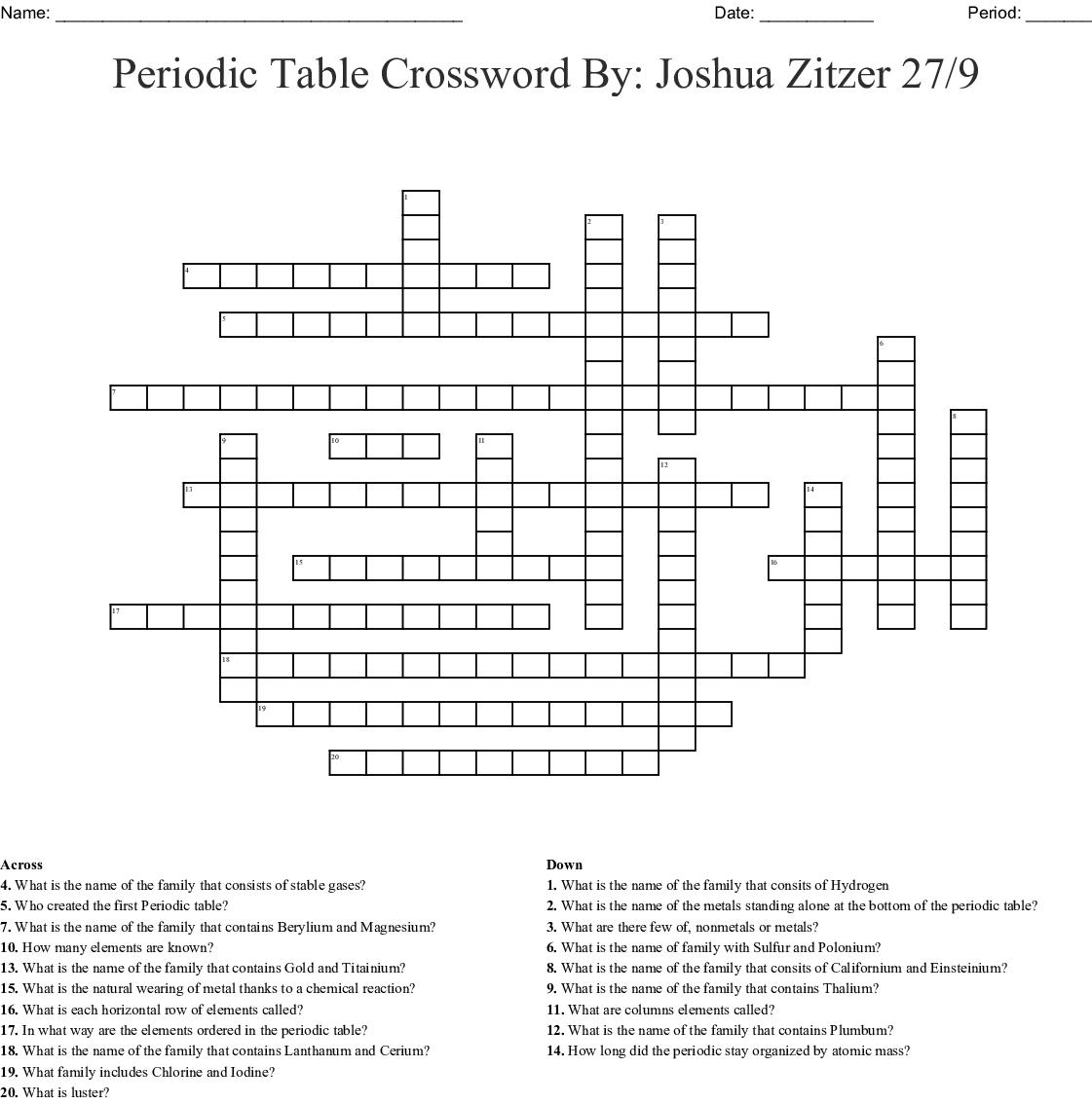 Periodic Table Of Elements Crossword Puzzle