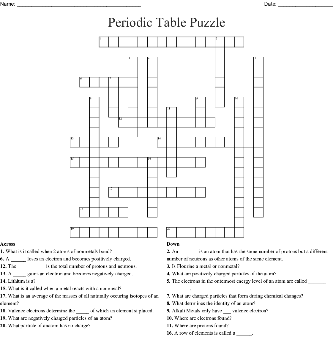The Periodic Table Crossword