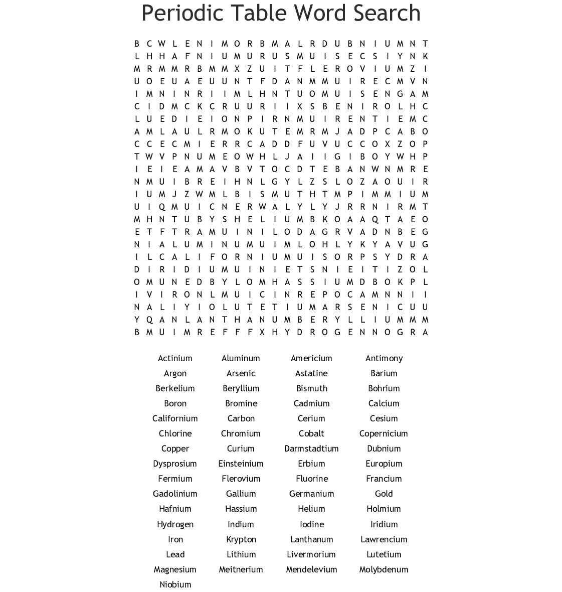 Elements Word Search