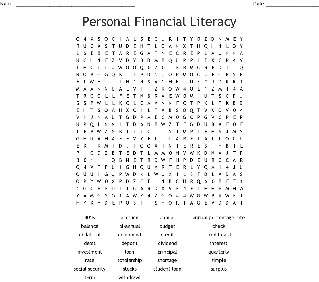 Personal Financial Literacy Word Search