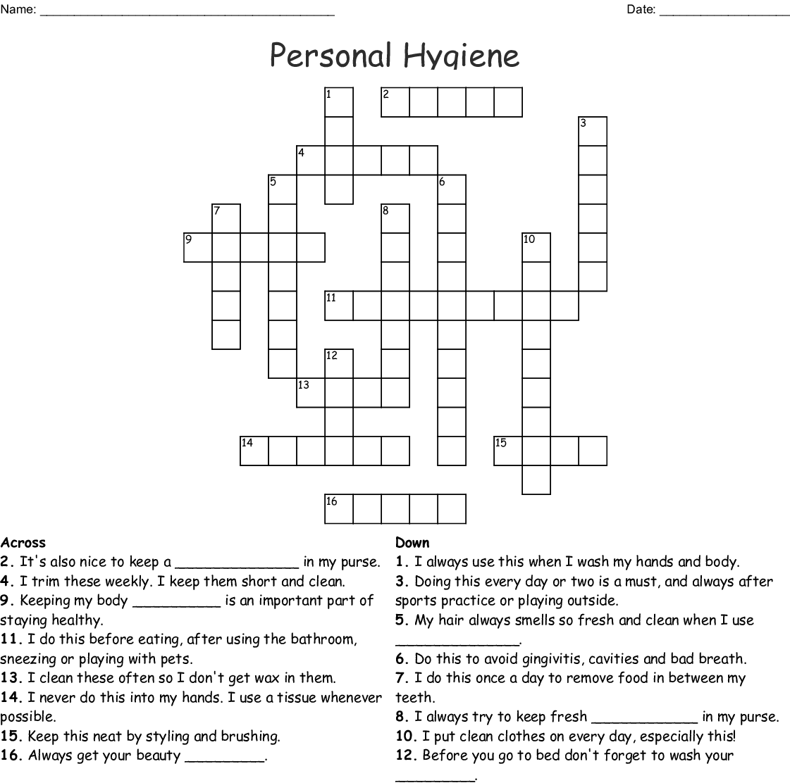 Hand Hygiene Crossword
