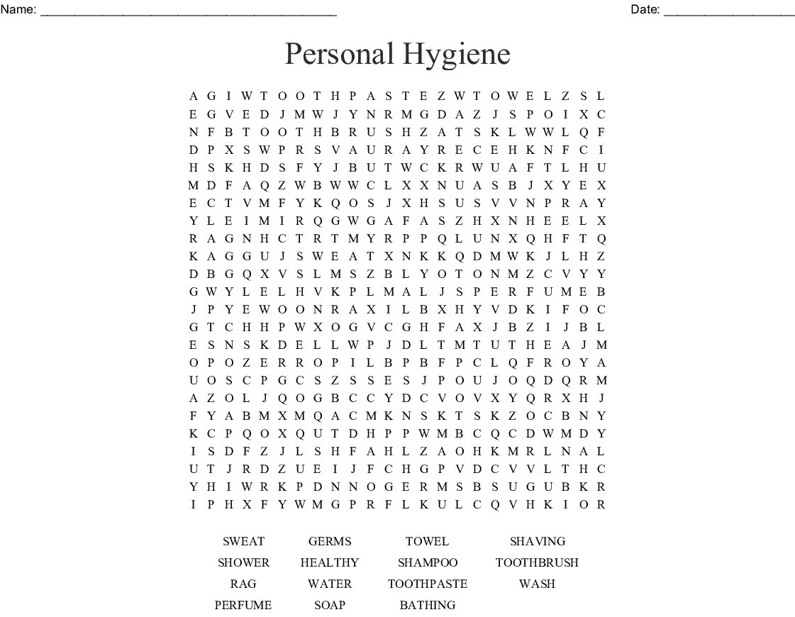 Personal Hygiene Word Search