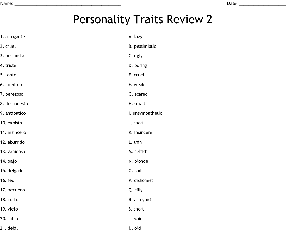 Personality Traits Review 2 Worksheet