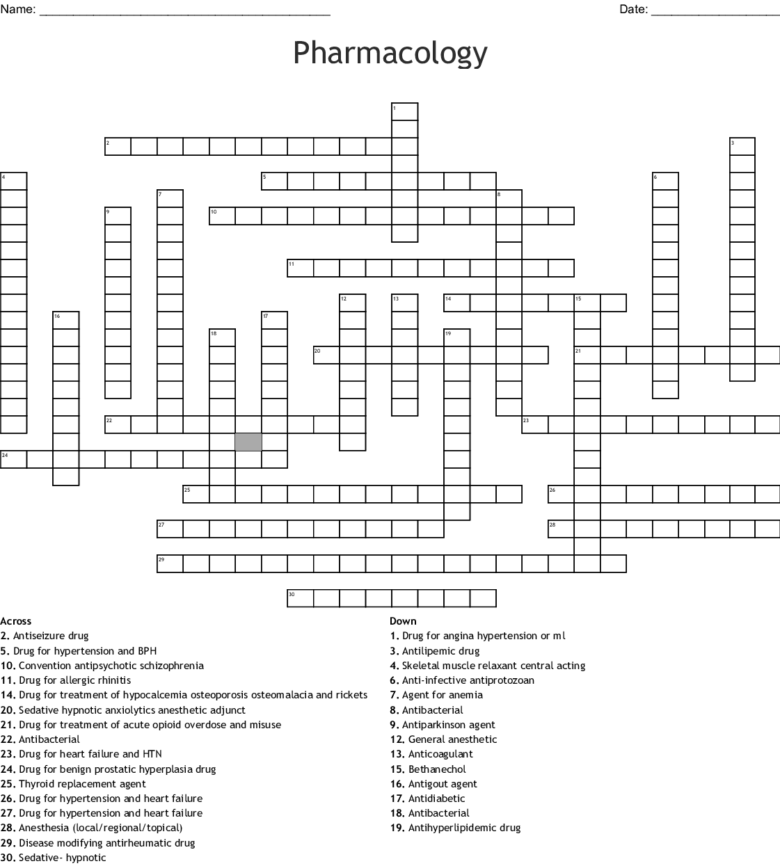 Top 200 Drugs Word Search