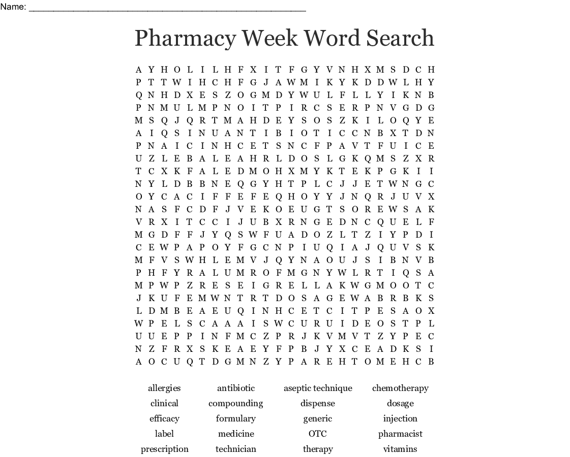 Pharmacy Week Word Search