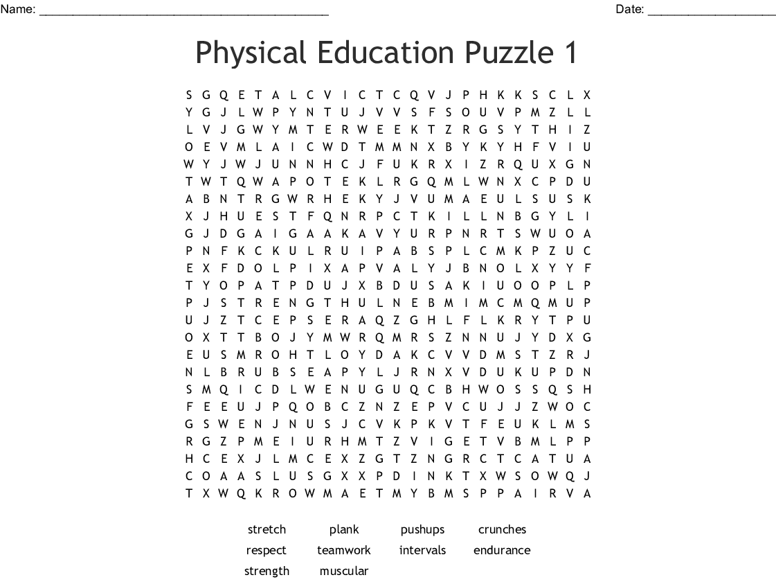 Physical Education Puzzle 1 Word Search