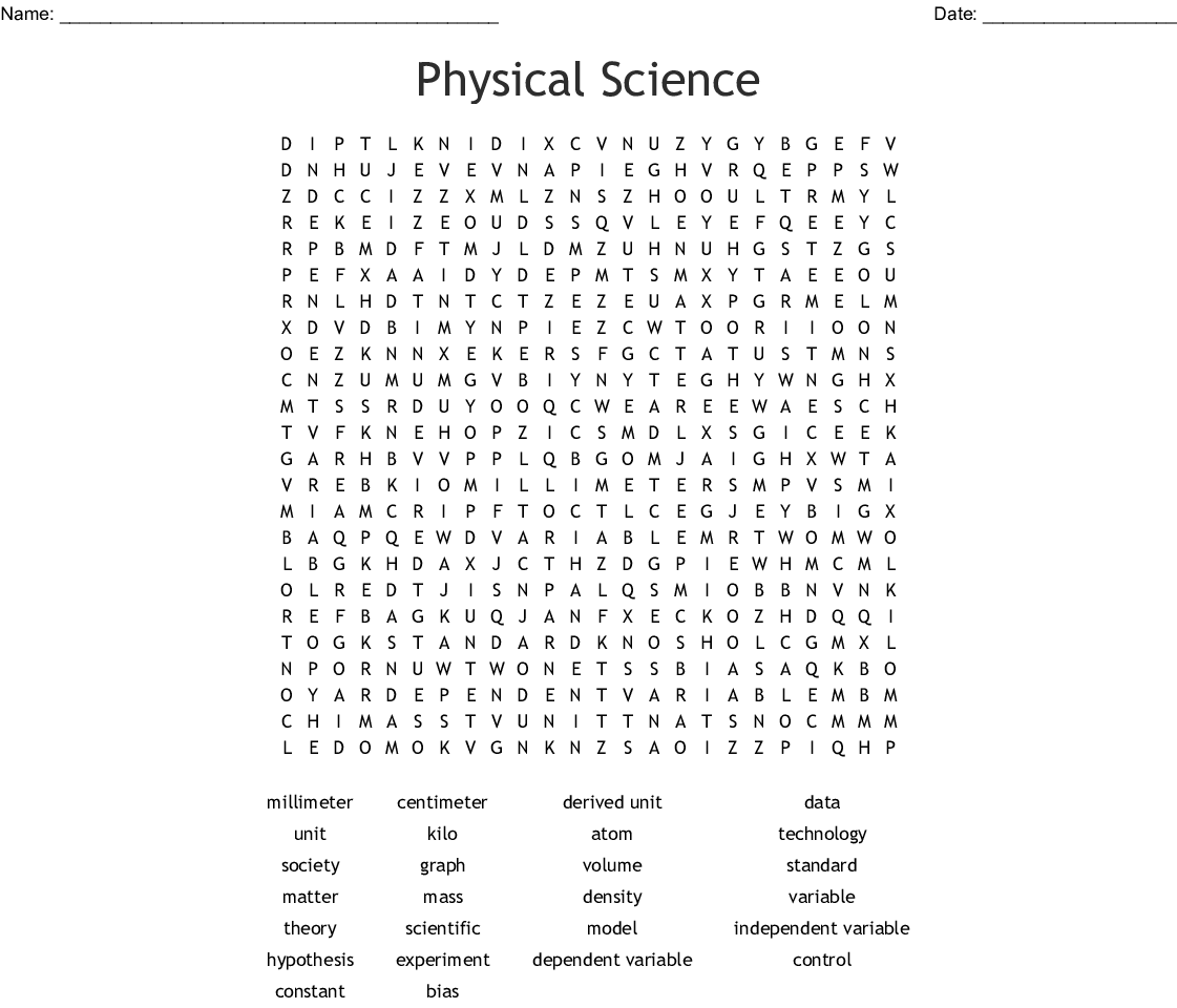 Gratifying Science Word Search Printable