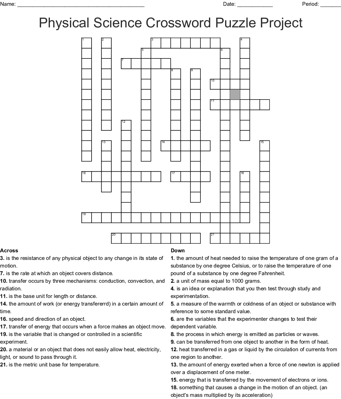 Physical Science Crossword Puzzle Project Crossword
