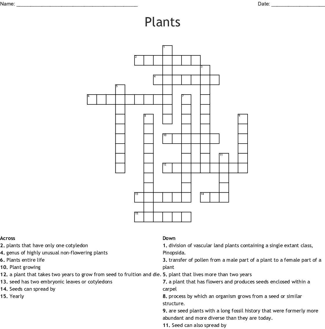 Plants Crossword