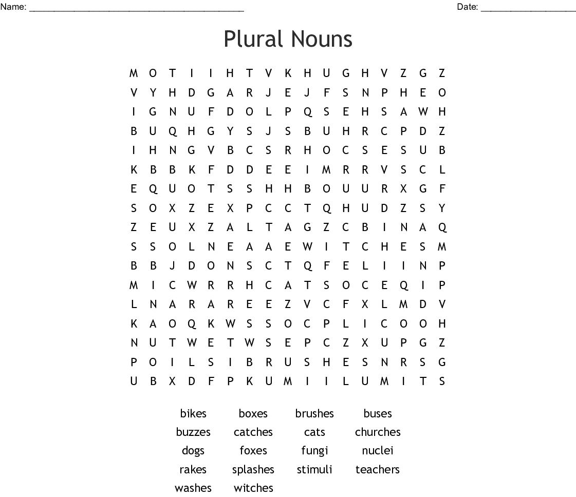 Plural Nouns Crossword