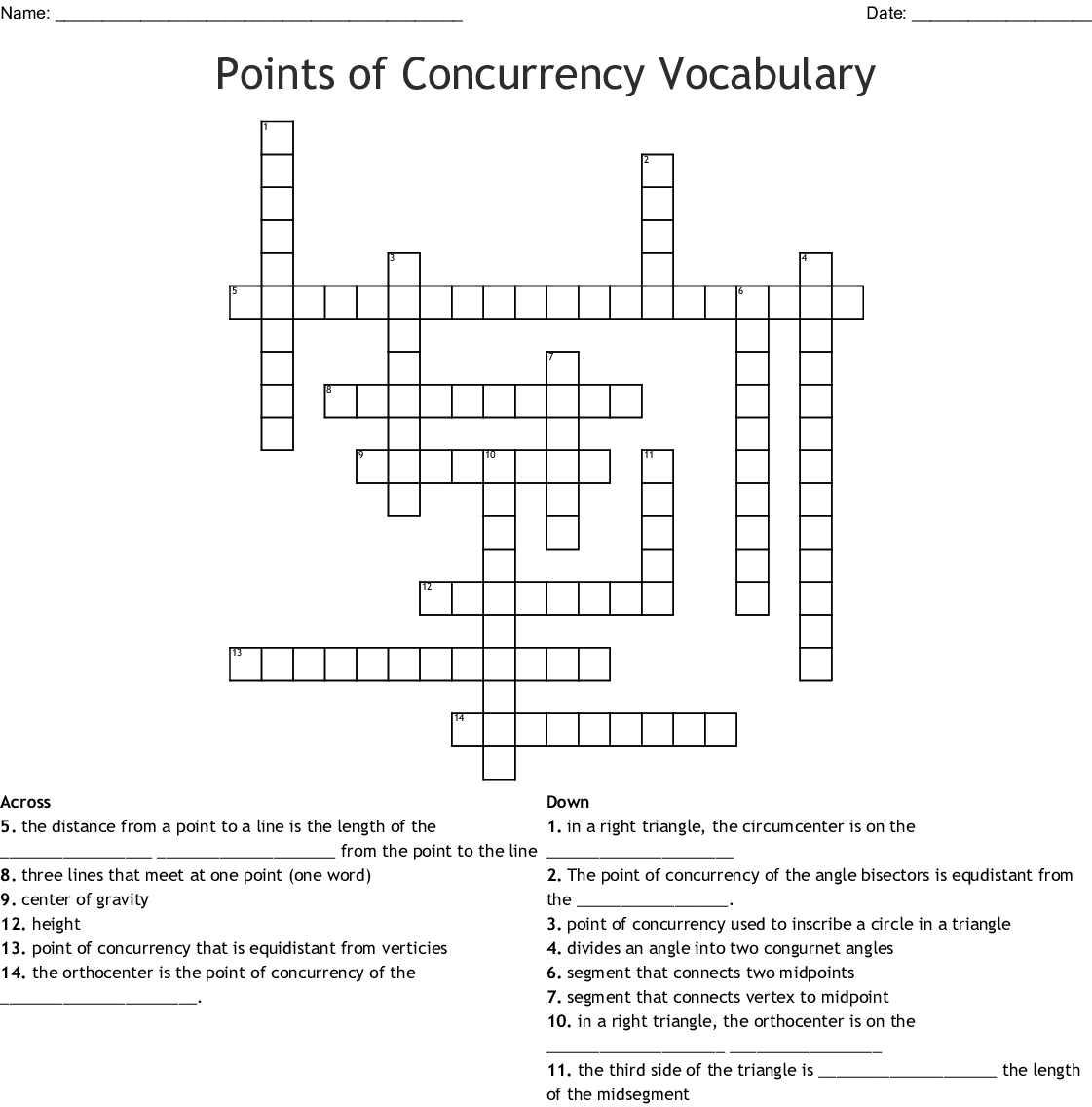 Points Of Concurrency Vocabulary Crossword