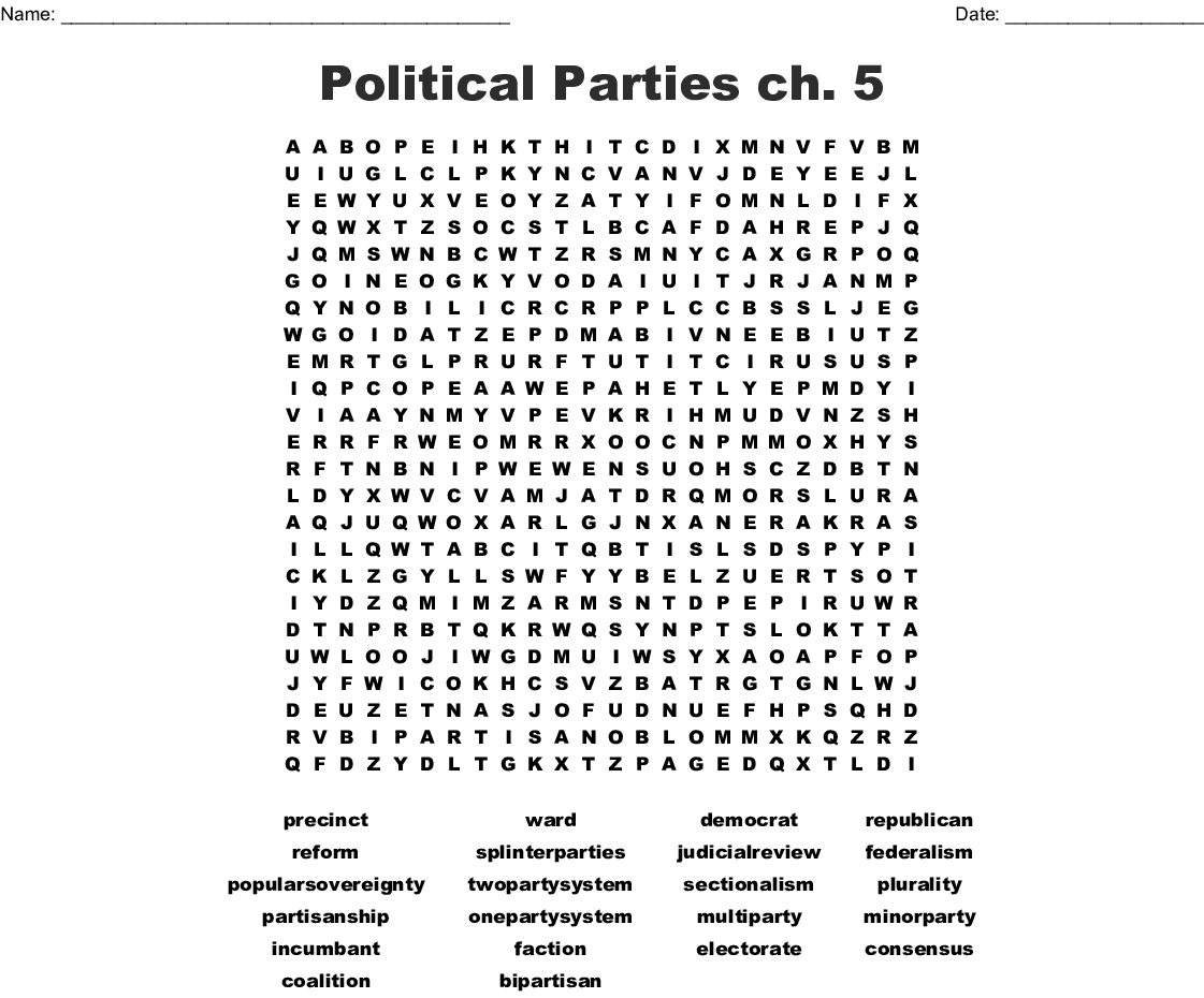Chapter 5 Political Parties Worksheet Answers
