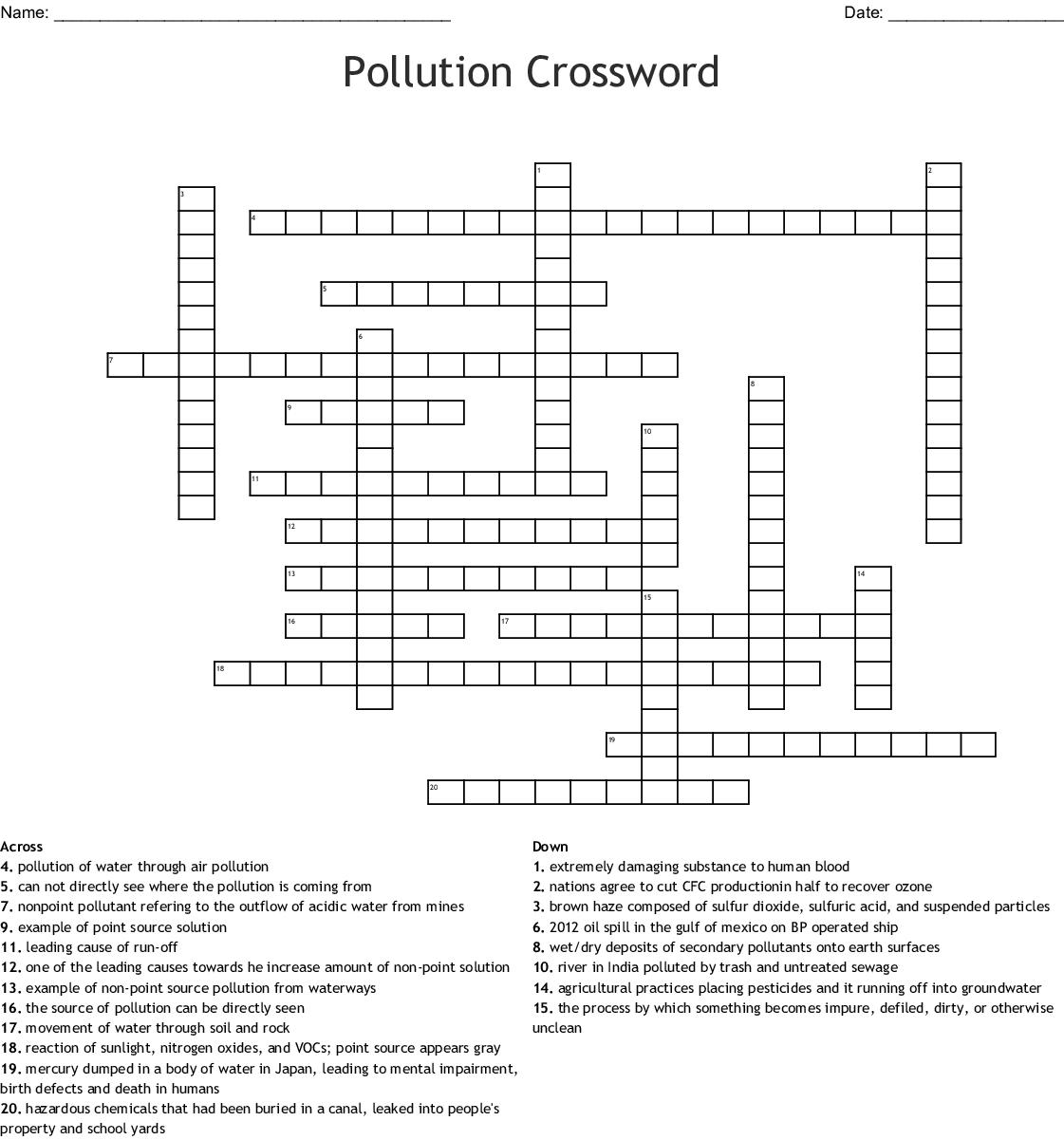 Pollution Crossword