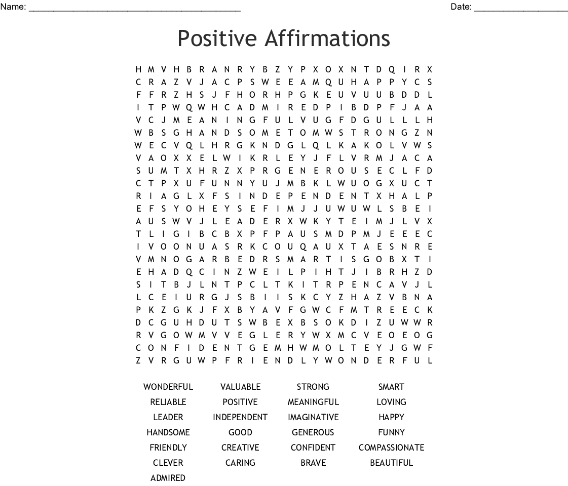 Positive Affirmations Word Search