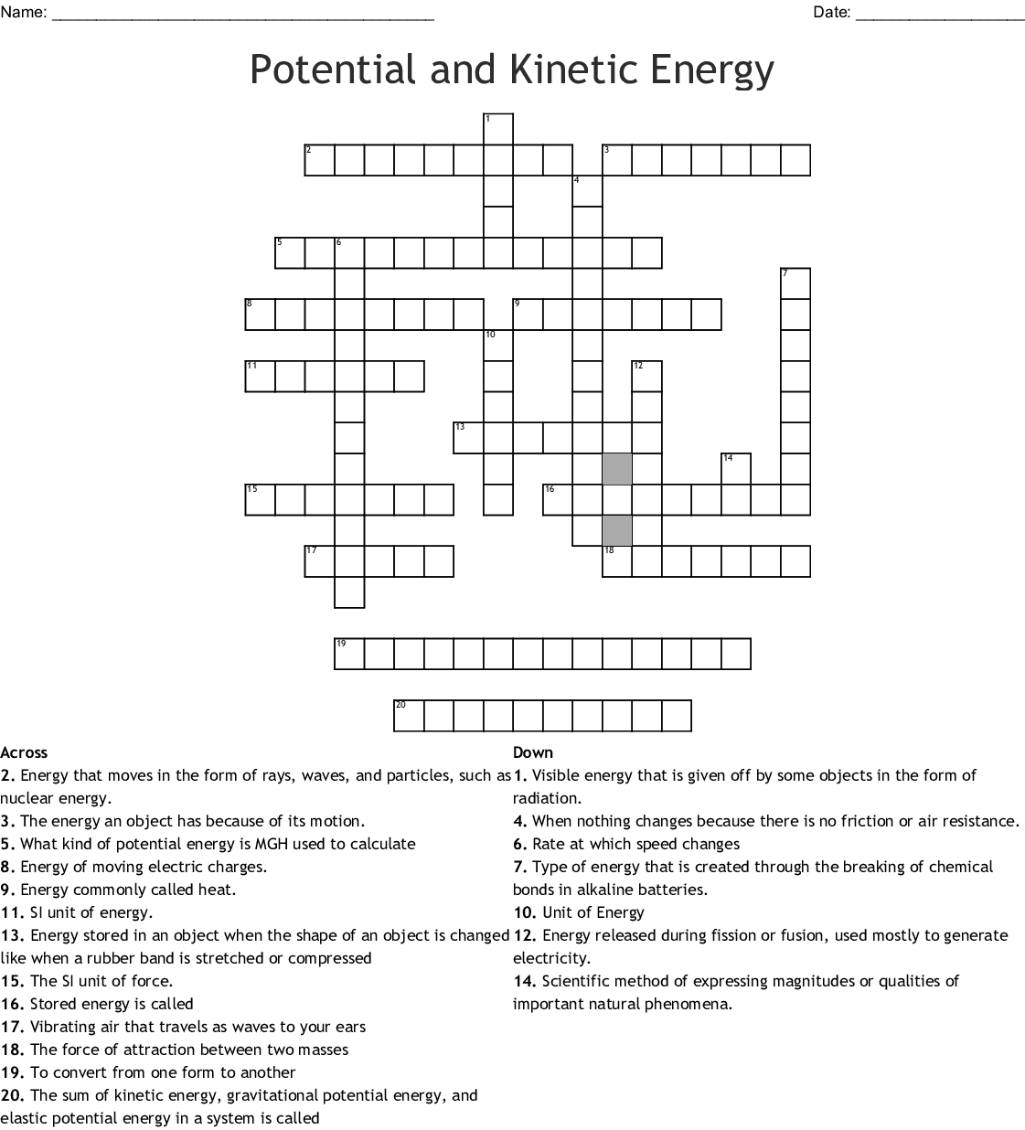 Potential And Kinetic Energy Crossword