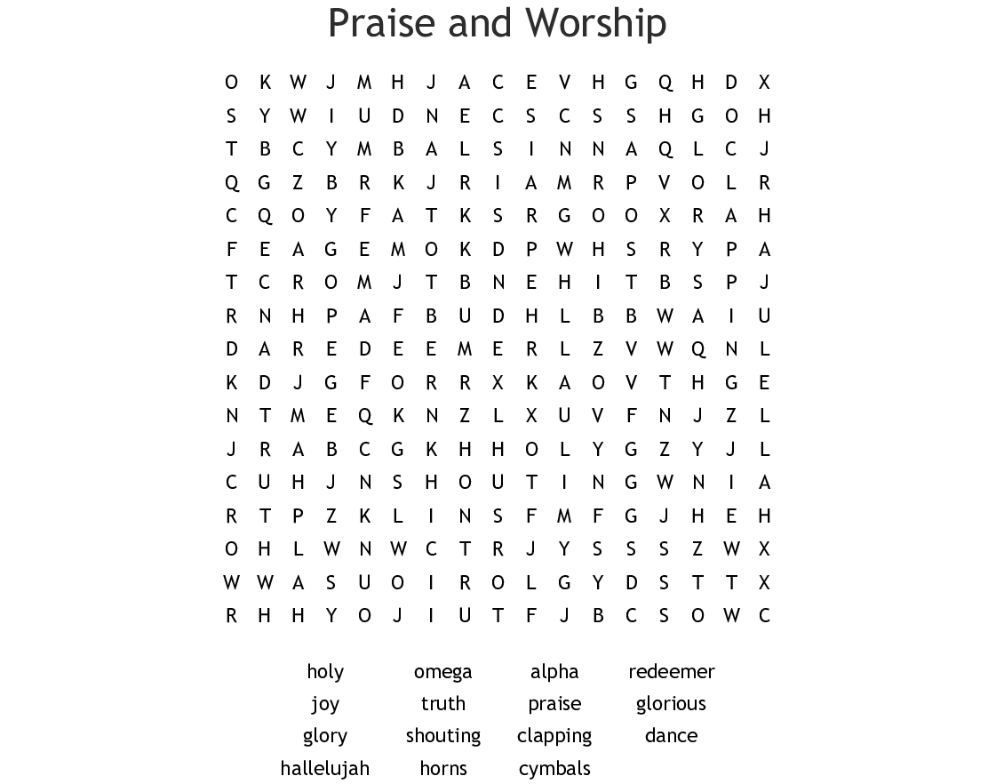 Praise And Worship Word Search