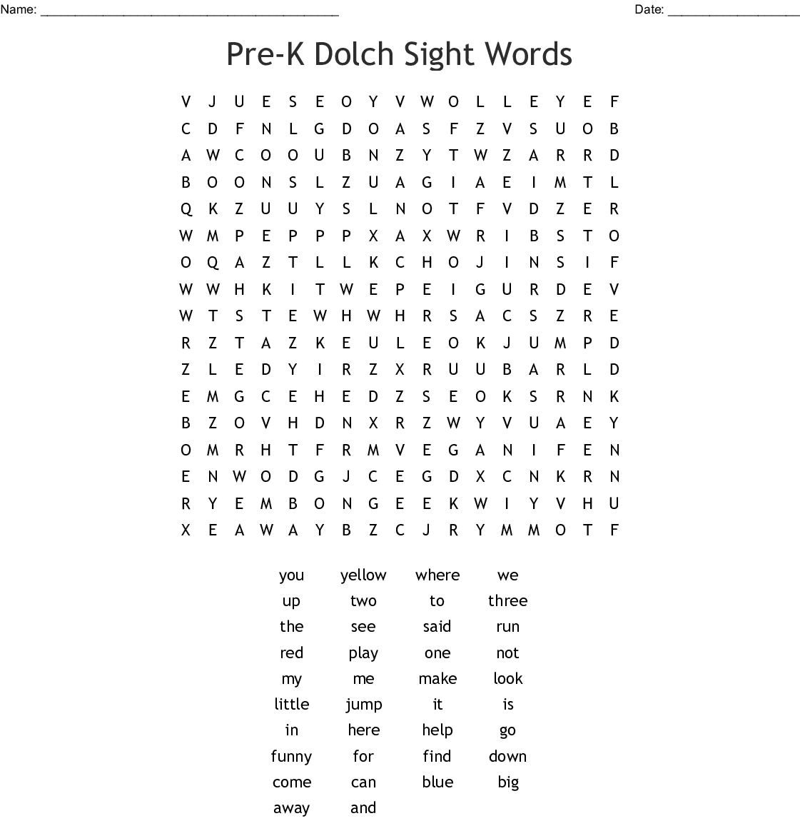 Spelling Packet 1 Word Search