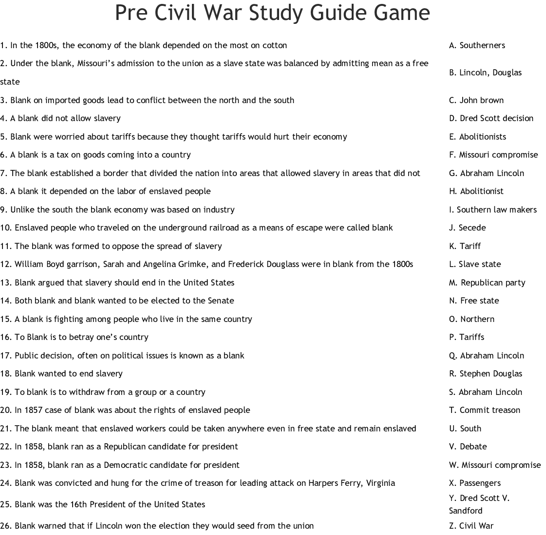 Pre Civil War Study Guide Game Worksheet