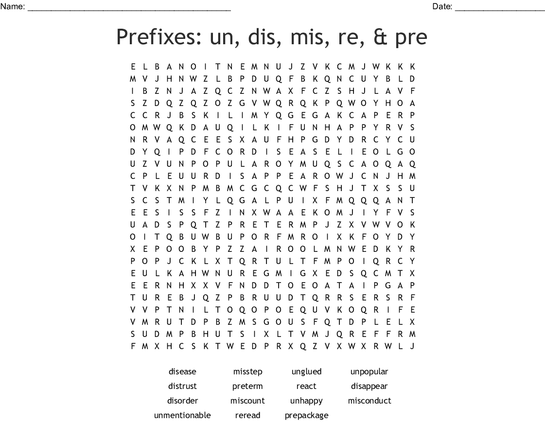 Prefixes Un Dis Mis Re Amp Pre Word Search