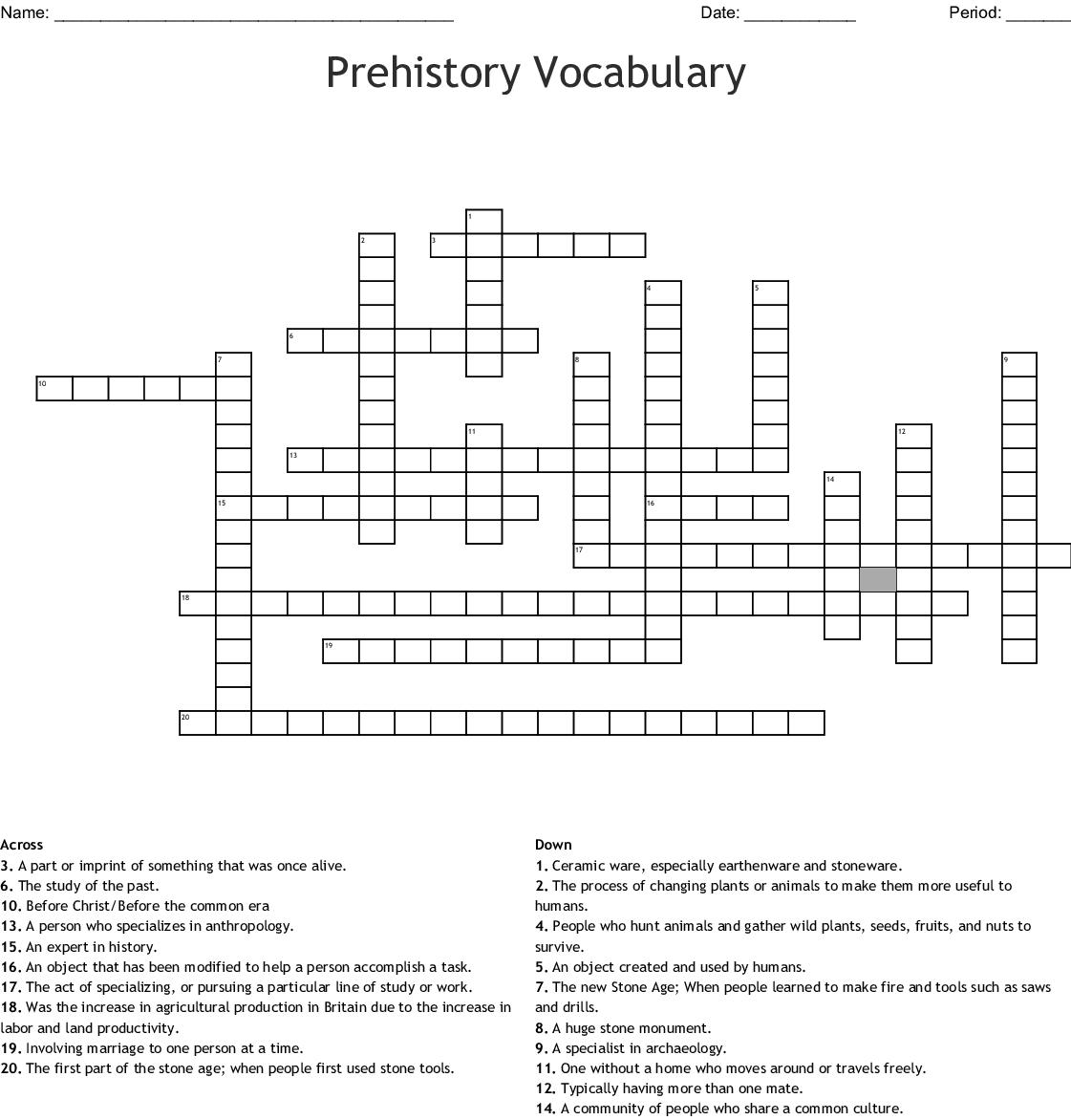 Prehistory Vocabulary Crossword Puzzle