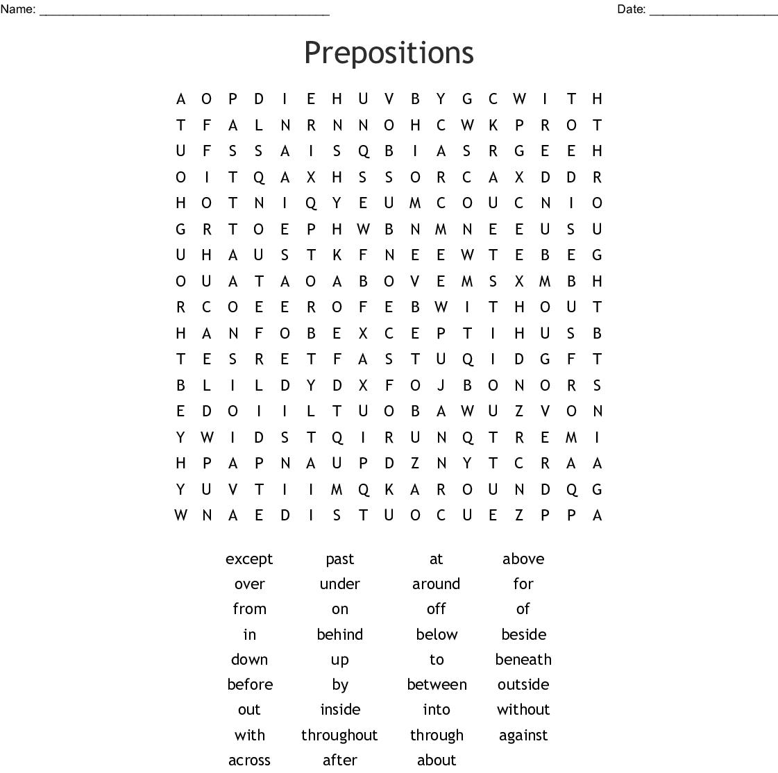 Preposition Word Search
