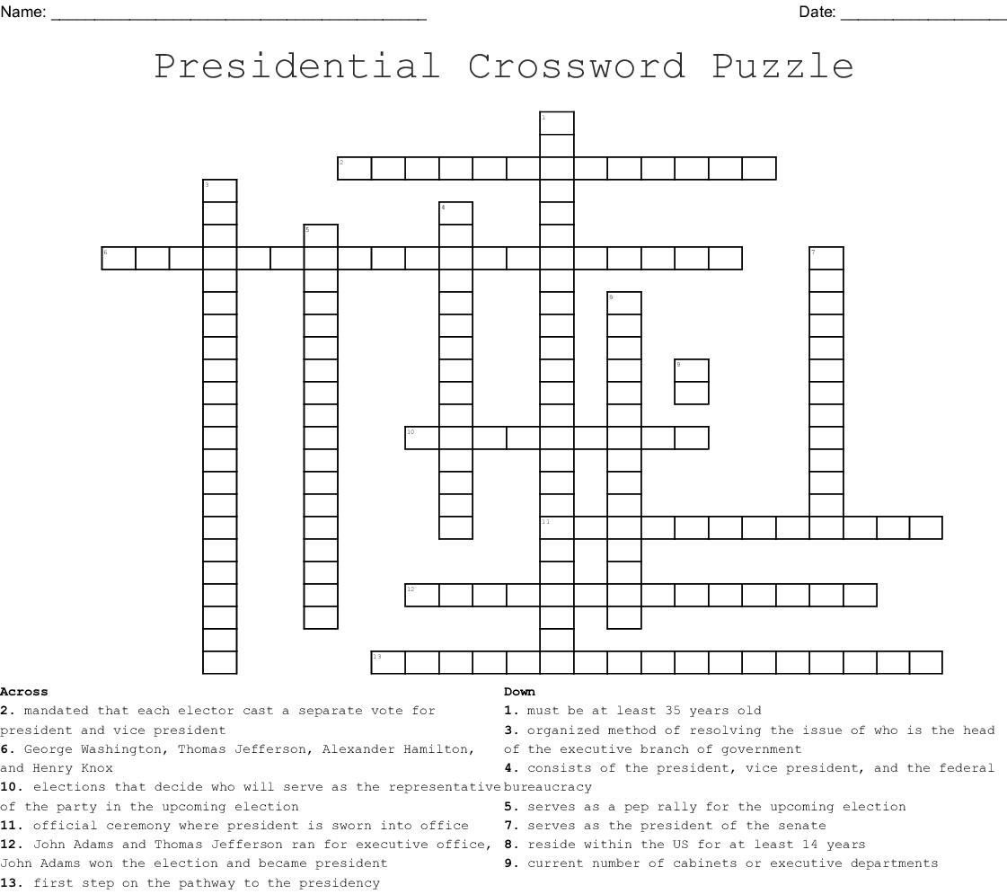 Presidential Crossword Puzzle
