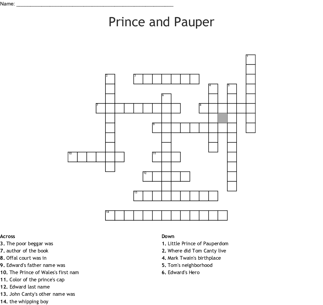The Prince And The Pauper Word Search