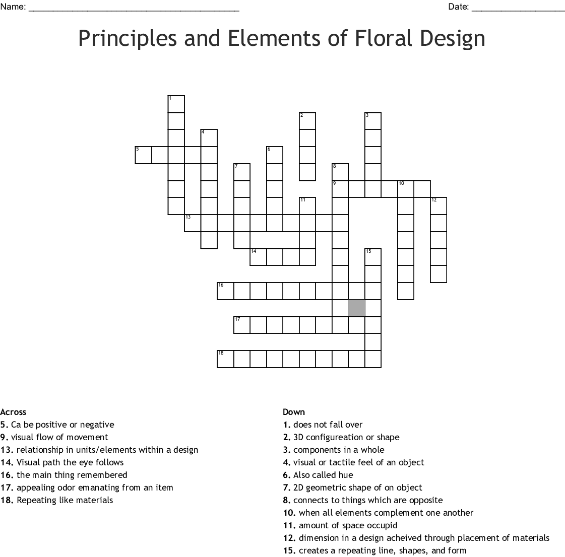 Floral Design Basics Techniques Worksheet