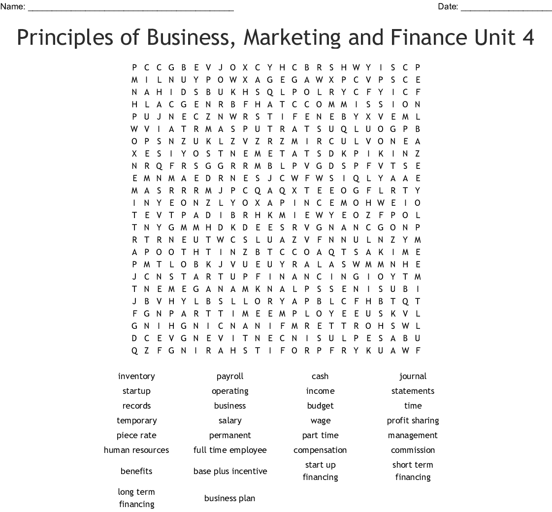 Human Resources Word Search