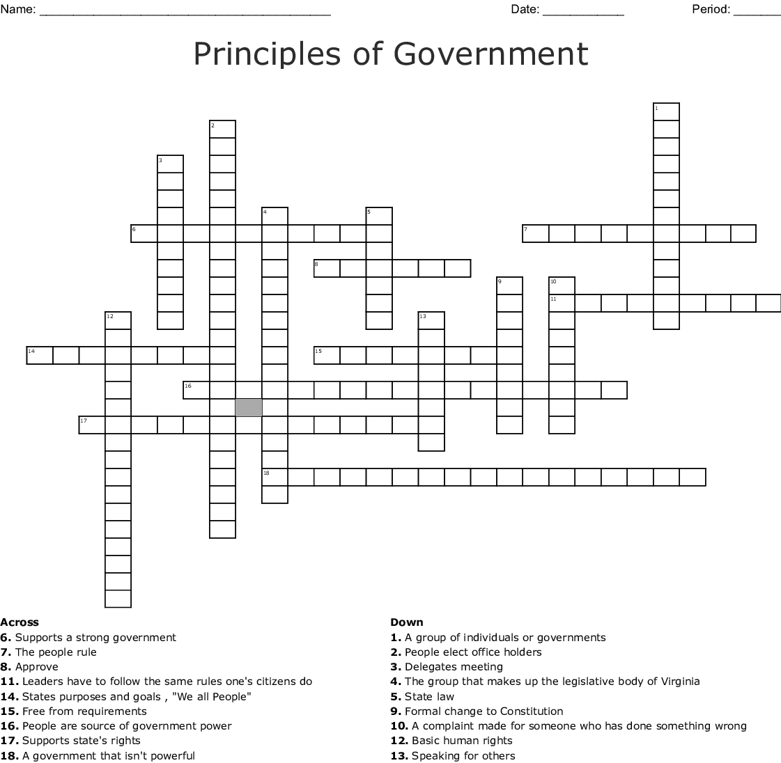 Principles Of Government Crossword