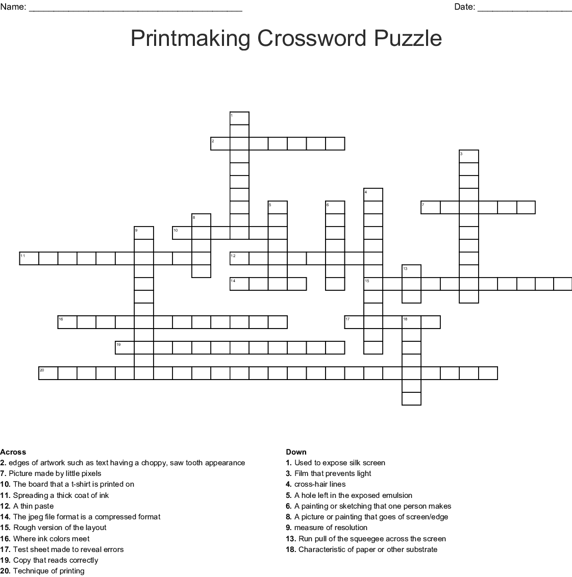 Visual Art Amp Design Crosswords Word Searches Bingo Cards