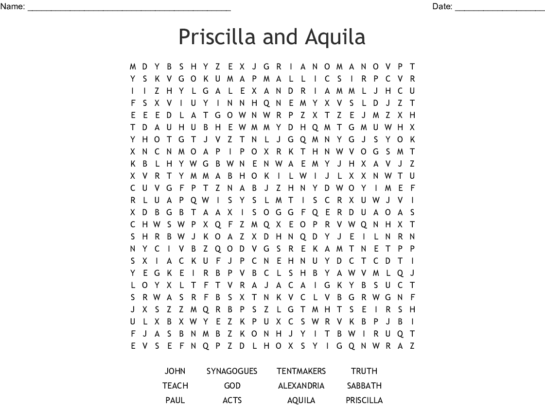 Priscilla And Aquila Are Guiding Lights Word Search