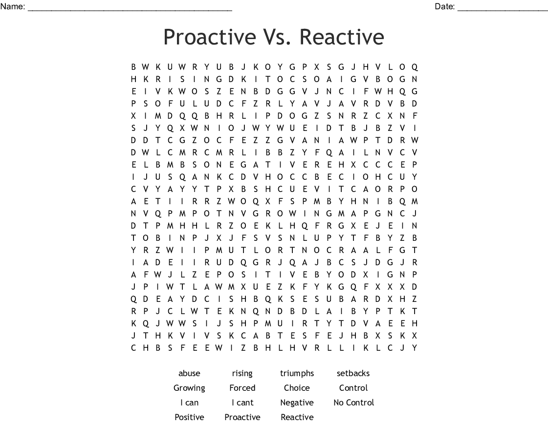 7 Habits Be Proactive Word Search