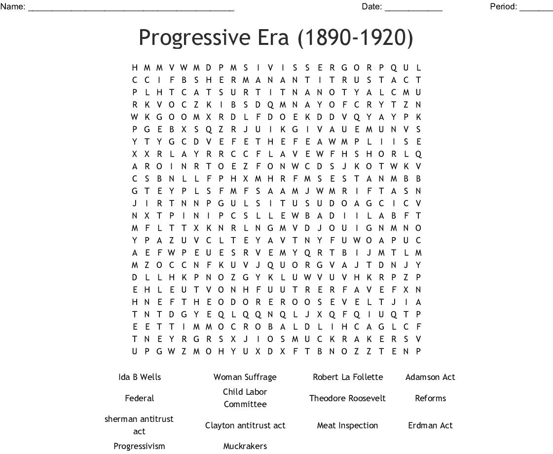 Similar To The Progressive Era Crossword