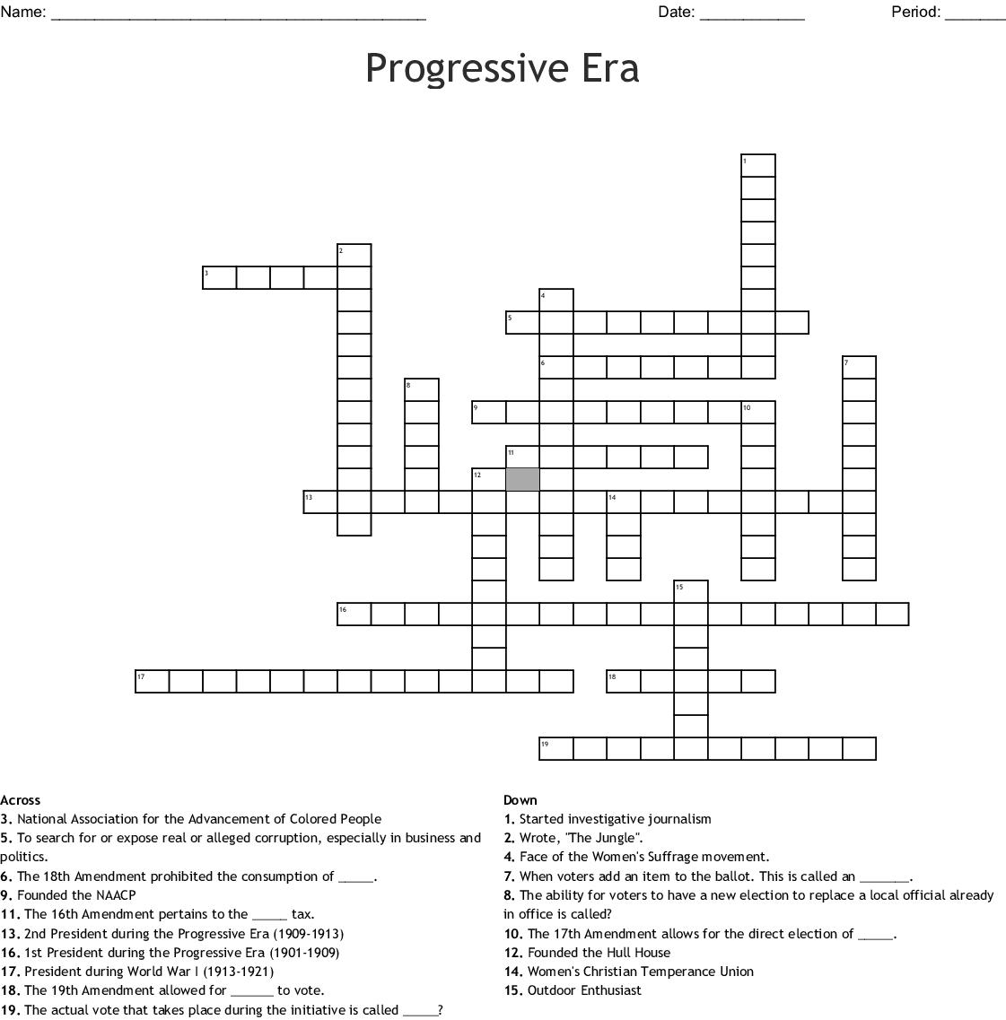 The Progressive Era Worksheet
