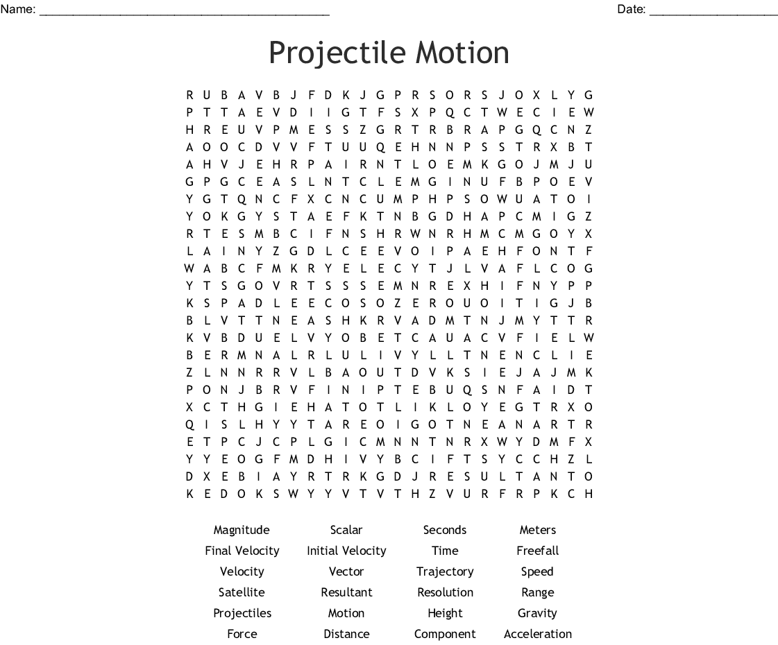 Projectile Motion Word Search