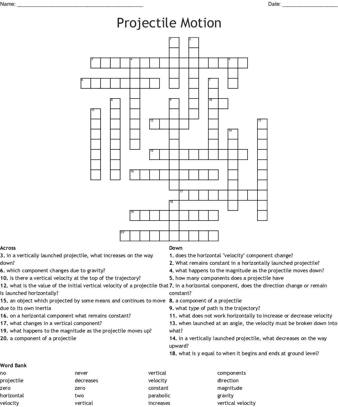 Projectile Motion Crossword Puzzle