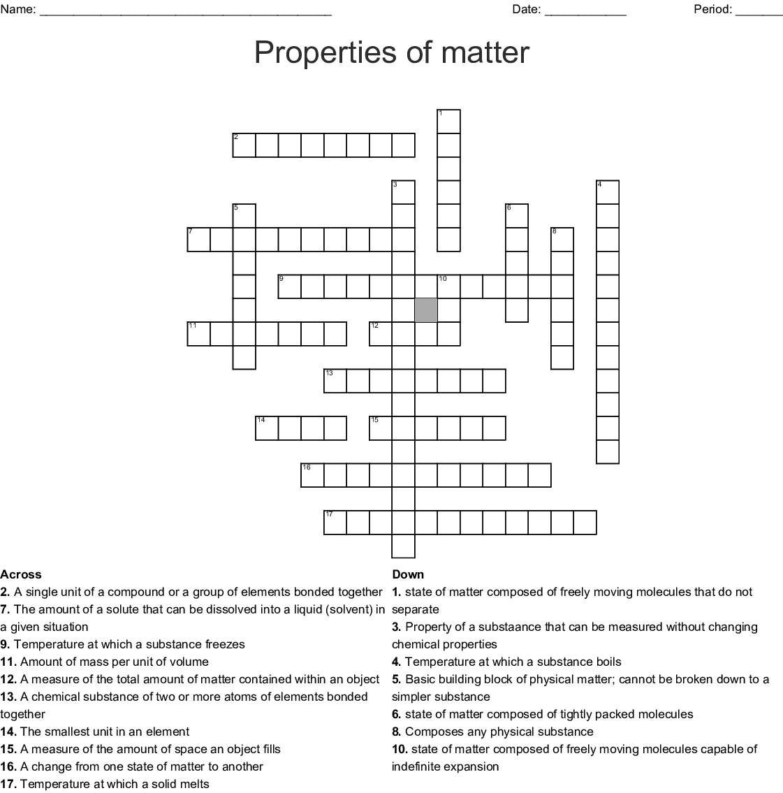Matter And Its Properties Crossword