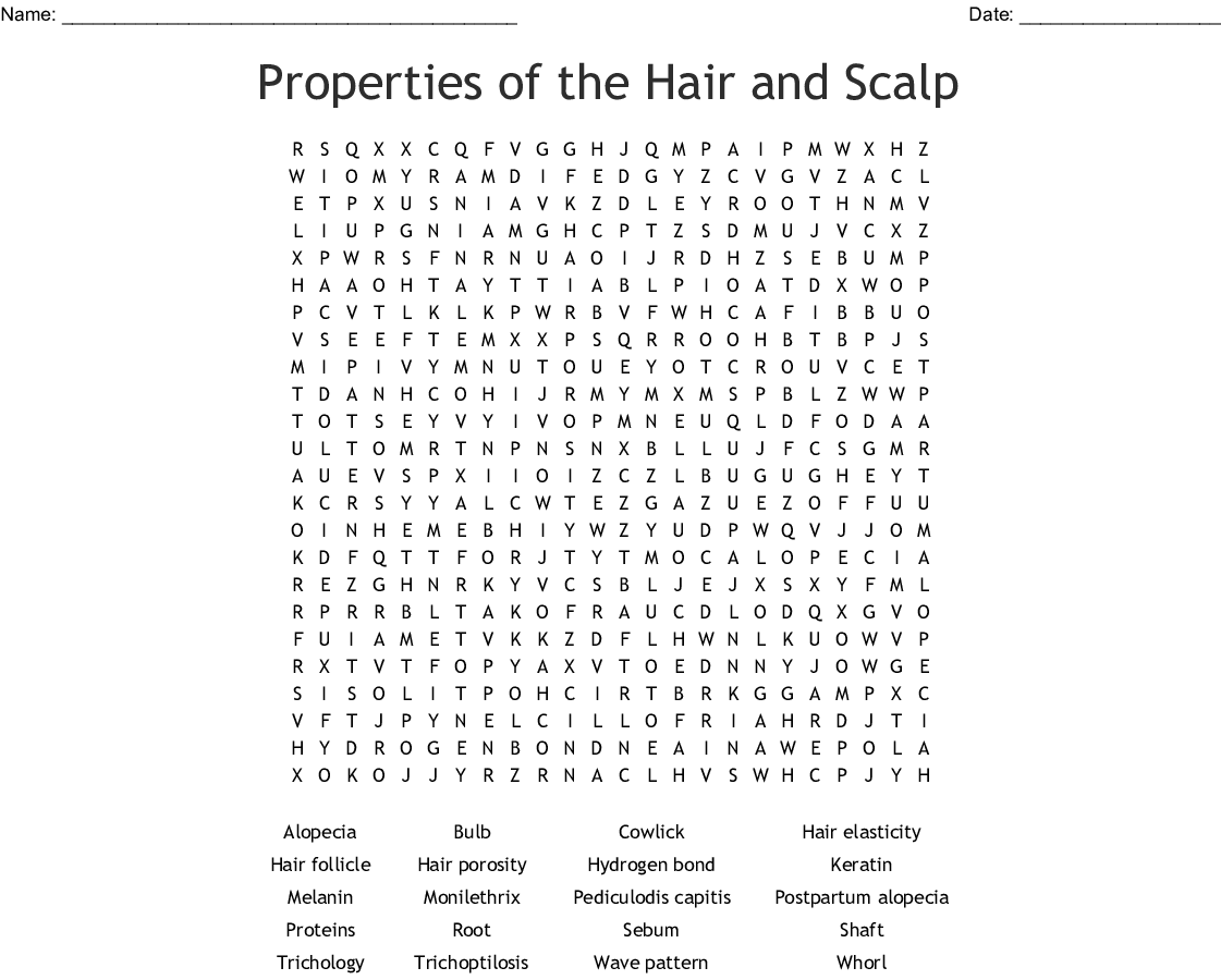Properties Of The Hair And Scalp Word Search