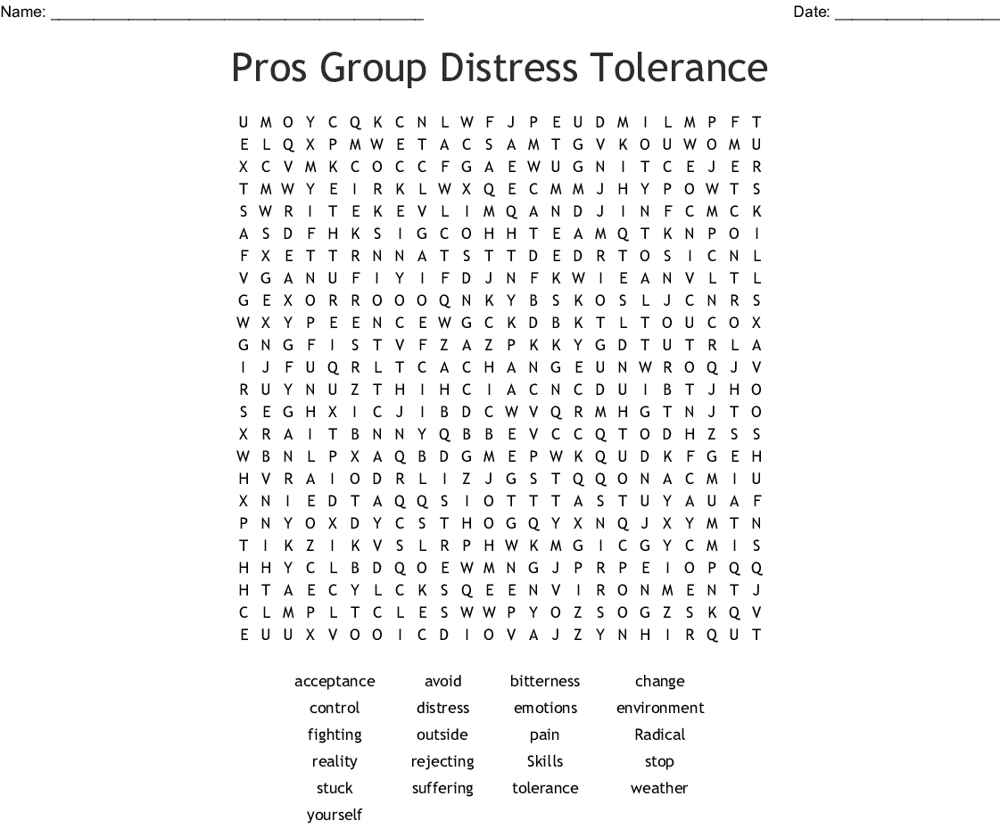 Dbt Distress Tolerance Worksheet Printable