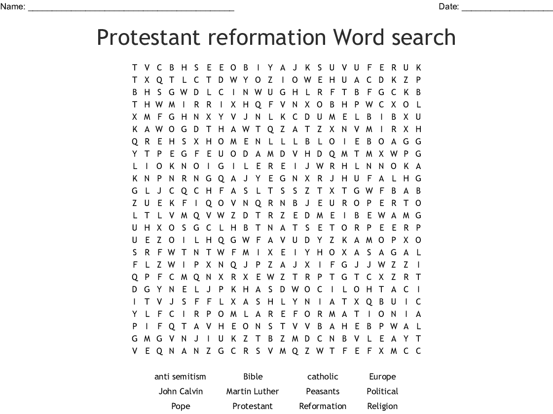 The Protestant Reformation Worksheet Answers