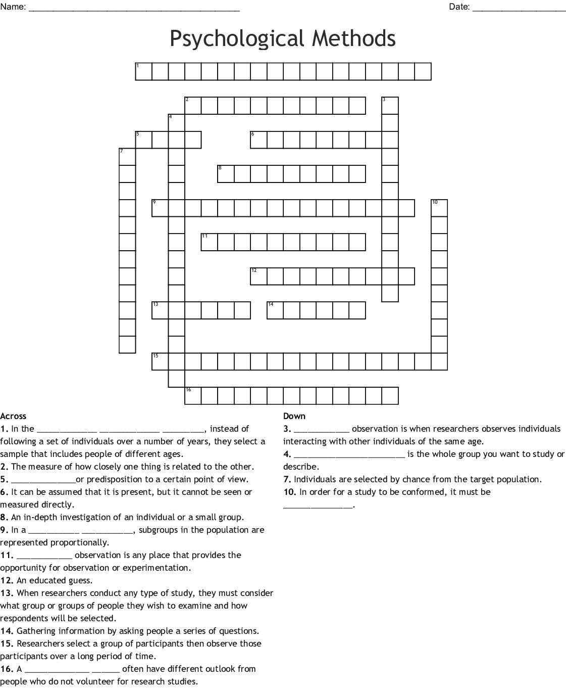 Psychological Methods Crossword