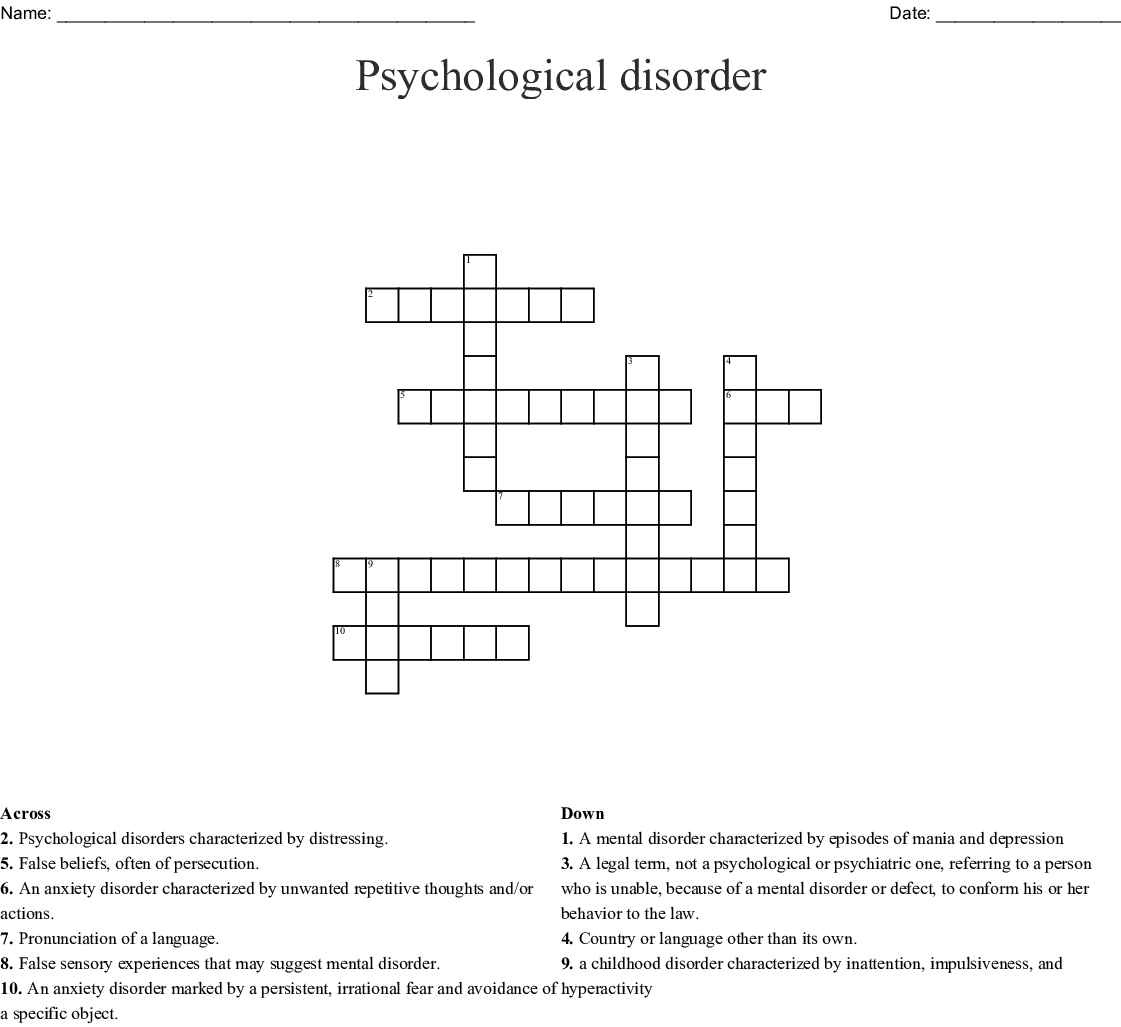 Intro To Psychology Crossword