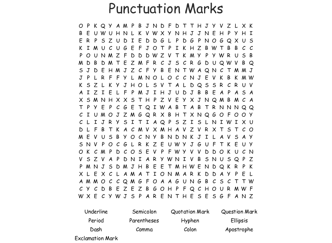 Punctuation Marks Word Search